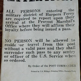 A Sign Announces Civil War Travel Restrictions At Harpers Ferry, by William Kuta