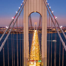 Aerial View Of Verrazzano Narrows Bridge by Mihai Andritoiu