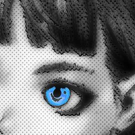 Anime Girl Eyes 2 Black And White Blue Eyes 2 by Tony Rubino