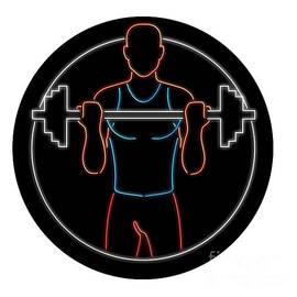 Aloysius Patrimonio - Athlete Lifting Barbell Oval Neon Sign