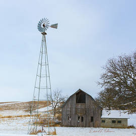 Barn And Windmill by Edward Peterson
