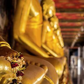 Buddha statues in Wat Suthat Thepwararam temple, Bangkok, Thailand by Robert Pastryk