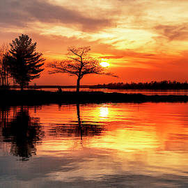Detroit Point Calm Spring Sunset by Ron Wiltse