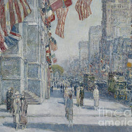 Early Morning On The Avenue In May 1917 by Childe Hassam