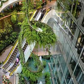 Green vertical interior design of Emquartier shopping mall dining floors Bangkok Thailand by Imran Ahmed
