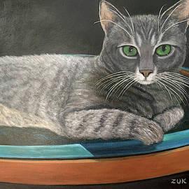 Grey Tabby Cat by Karen Zuk Rosenblatt