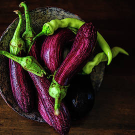 Hot Peppers and Aubergines by Cassi Moghan