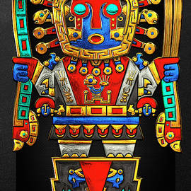 Incan Gods - The Great Creator Viracocha on Black Canvas