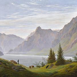 Landscape With Mountain Lake, Morning by Caspar David Friedrich