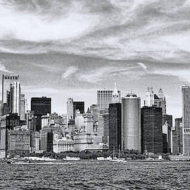 Lower Manhattan Skyline - B and W by Allen Beatty