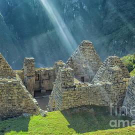 Machu Picchu sunbeam by Patricia Hofmeester