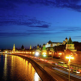 Moscow Kremlin after sunset by Alexey Stiop