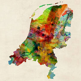 Netherlands Watercolor Map by Michael Tompsett