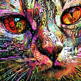 Psychedelic Tabby Cat Art by Peggy Collins