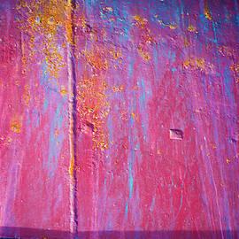 Red Blue Yellow Rusty Boat Close Up by Yulia Kazansky