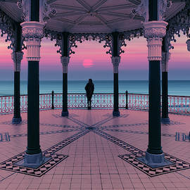 Silhouette of girl  on Brighton Bandstand by Maggie McCall