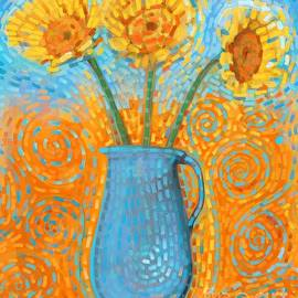 Sunflowers in Blue Vase by Ry M