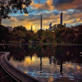 The Sailboat Pond at Dusk - Central Park New York by Miriam Danar