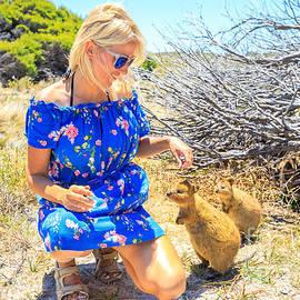 Benny Marty - Tourist woman with Quokka