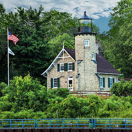 White River Lighthouse in Summer by Whitehall Michigan by Randall Nyhof