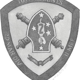 10th Marines Crest by Betsy Hackett
