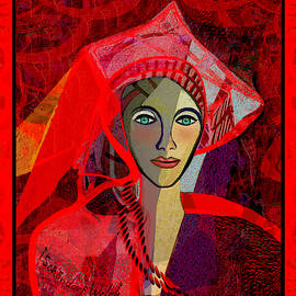 1791  Lady in Red 2017 V by Irmgard Schoendorf Welch