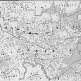 1892 Map Of Somerville Cambridge Boston Medford Everett Charleston Ma Massachusetts Black And White by Toby McGuire