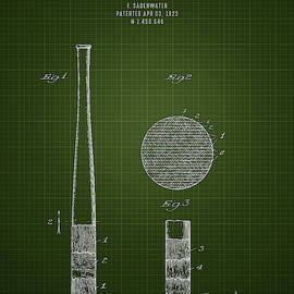 Aged Pixel - 1923 Baseball Bat - Dark Green Blueprint