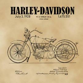 1928 Harley Davidson Motorcyle Patent Illustration Art Print by David Millenheft
