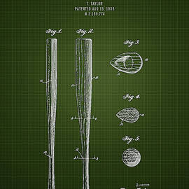 Aged Pixel - 1939 Baseball Bat - Dark Green Blueprint