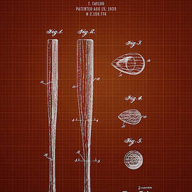Aged Pixel - 1939 Baseball Bat - Dark Red Blueprint