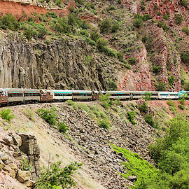 A View of the Verde Canyon Railroad Train, Clarkdale, AZ, USA by Derrick Neill