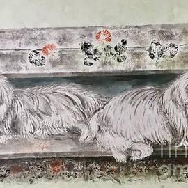 Two Pekes Dogs by Carmen Lam