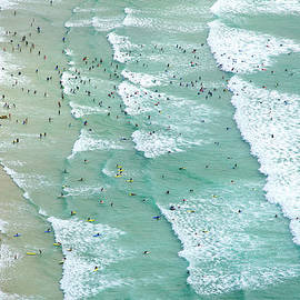 Swimmers And Surfers On Beach, Aerial by Jason Hawkes