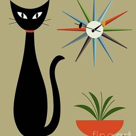 Tabletop Cat With Starburst Clock by Donna Mibus