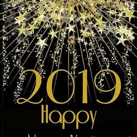 2019 Happy New Year Card by Delynn Addams by Delynn Addams