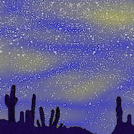 3044 The  Desert Starry Sky with moon by Irmgard Schoendorf Welch