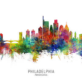 Philadelphia Pennsylvania Skyline by Michael Tompsett