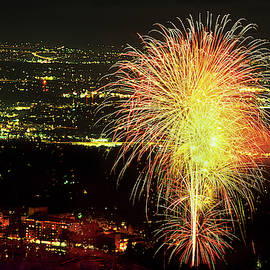 4th Of July Fireworks Over Historic Broadmoor Hotel built in 1918, Colorado Springs, Colorado by Bijan Pirnia