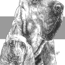 Bloodhound and Pup by Barbara Keith