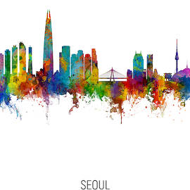 Seoul Skyline South Korea by Michael Tompsett