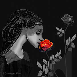 699 A - Lady with Red rose   by Irmgard Schoendorf Welch