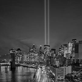 911 Tribute In Light In NYC BW by Susan Candelario