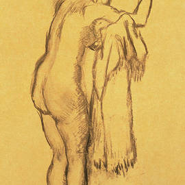 A Bather Drying Herself By E Degas by Edgar Degas