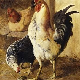 Federico Jimenez Fernandez - A Cockerel and Chickens in a Farmyard