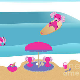 A Dog Family Surf Day Out by Barefoot Bodeez Art