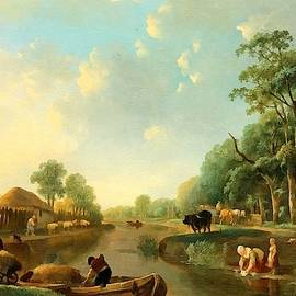 A Dutch Canal Landscape After The Original Painting By Dutch Old Master Andries Vermeulen by Gert J Rheeders
