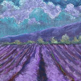 A field of lavender. Landscape drawing. The texture of pastels. by Elena Sysoeva