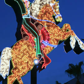 A Hacienda Horse and Rider Sign, Fremont East District Entrance, by Derrick Neill