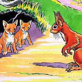 Harry M Pettit - A Little Red Squirrel and three fox cubs